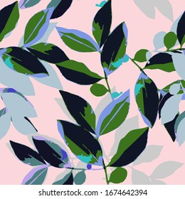 Seamless foliage print pattern. Digital illustration with contrasting shapes and colors. Perfect for fabrics, wallpaper, home fashion, interior design, apparel and textile.