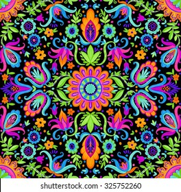 seamless folk pattern. Very beautiful, hand draw ethnic flowers and ornaments on black background. A modern take on traditional tiling, trendy for fashion or  interior.