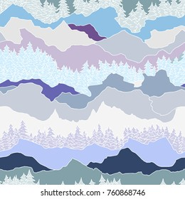 seamless forest and mountain pattern