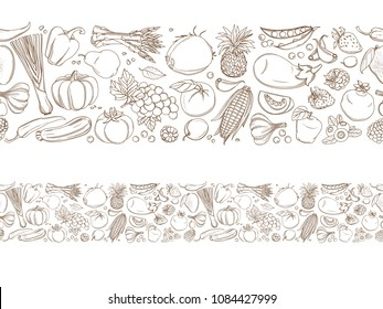 Seamless frame border background pattern of green organic fresh tropical fruits and vegetables. illustration. Sketch doodle outline line design. White backdrop top view grocery products