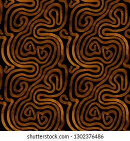 Seamless free wave pattern in gold and black colors. Abstract raster texture in vintage style