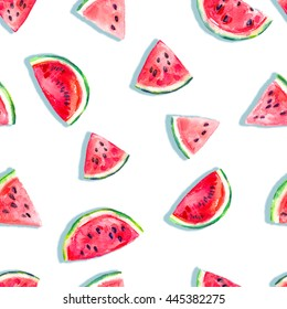 Seamless fresh juicy ripe watermelon slices pattern, red rose colors, summer time fun, nature harvest, youth aesthetics background allover print
