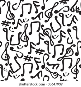 Seamless and fully repeatable illustrated pattern with various music symbols.
