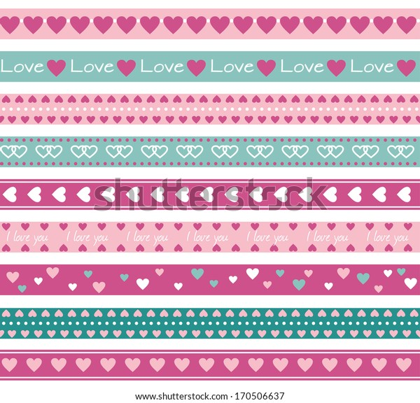 Seamless funny borders with hearts. Raster version