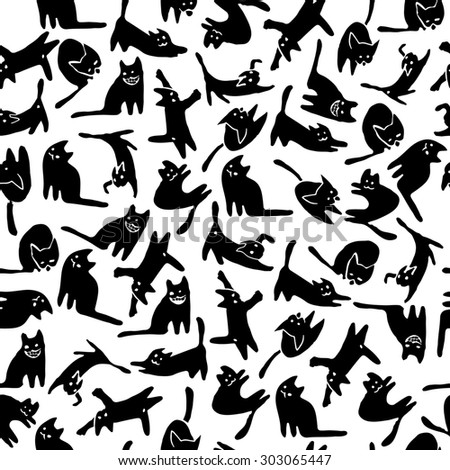 Royalty Free Stock Illustration Of Seamless Funny Pattern Cute Black