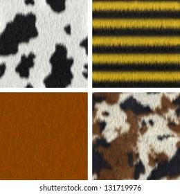 Seamless fur textures : cow, bee, fox, pony (3D render)