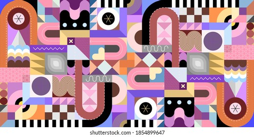 Seamless geometric background with different shapes and decorative elements.