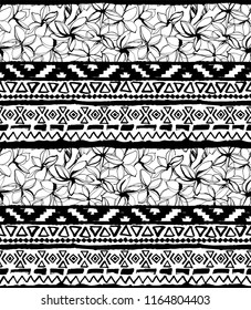 Seamless geometric pattern. Ethnic aztec mexican tropical tribal floral motifs with exotic plumeria flowers background. Grunge ink brush texture. Print for your textiles. illustration.