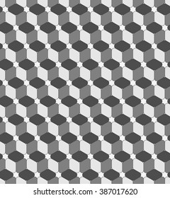 Seamless geometric pattern. Fashion graphic background design. Modern stylish texture with rounded rhombuses. Optical illusion 3D. For prints, textiles, wrapping, wallpaper, website, blogs etc.
