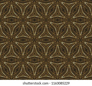 Seamless Geometric Pattern With Gold Color Line Ornament Raster Illustration Creative Design For