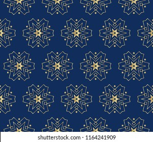 Seamless geometric pattern. With gold color line ornament. Raster illustration. creative design for different backgrounds.