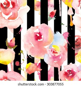 Seamless geometric pattern with hand drawn roses on the striped background.