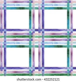 Seamless geometric pattern with hand drawn watercolor plaid material.