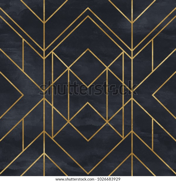 Seamless geometric pattern on paper texture. Art Deco background