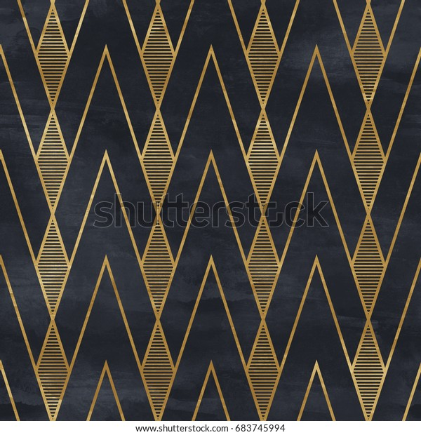 Seamless geometric pattern on paper texture. Art Deco background,