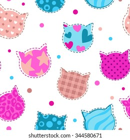 Seamless girlish pattern with cute cats silhouettes, endless illustration