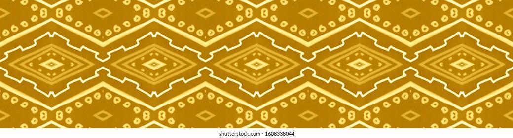 Seamless Gold Aztec Print. Grunge African Background. Drawn by Pencil Batik Texture. Zigzag Pillow Design. Aztec Pattern. Yellow Navajo Wallpaper. Ikat Fabric Design. Gold Aztec Pattern.