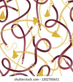 Seamless gold color chain, tassel and belts pattern on white background. Pattern for summer designs.