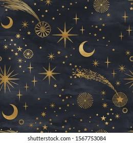 Seamless gold on black starry pattern. Festive christmas background