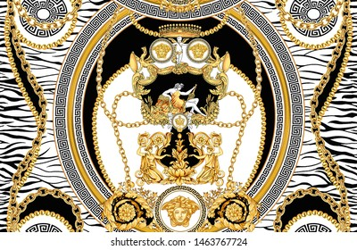 Seamless Golden Baroque Fashionable pattern in ancient vintage style with greek keyed oval frame, chain,zebra background. Will tile endlessly. Pattern for textile, design and backgrounds.