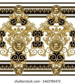 Seamless Golden Baroque, Fashionable pattern in ancient vintage style with medusa head, greek geometric border, black-white background. Will tile endlessly. Pattern for textile, design and backgrounds