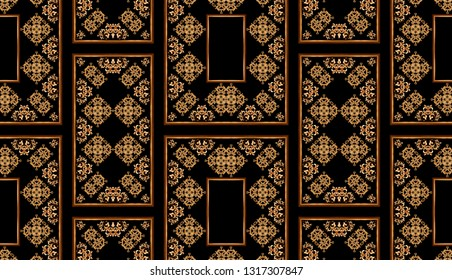 seamless golden baroque frame symmetry print pattern. antique retro style