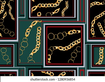 seamless golden chain square patchwork fabric print pattern.