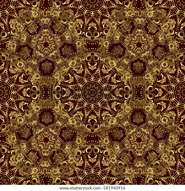 Seamless golden Christmas ornament pattern. Glittering background illustration on brown backdrop.