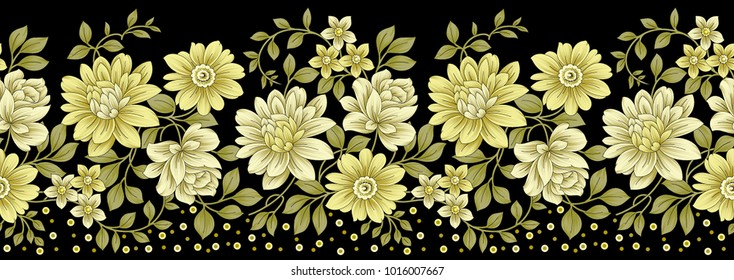 Seamless golden floral border on dark background