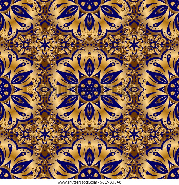 Seamless golden ornament in arabian style on a blue background. Pattern for wallpapers, backgrounds, flyers or wrapping paper. Seamless pattern with damask ornament.