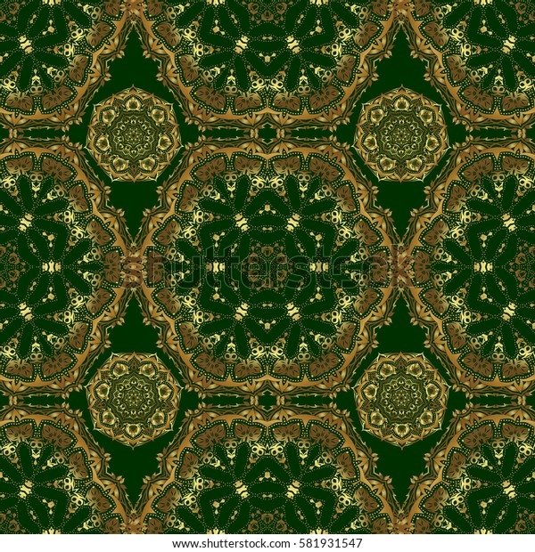 Seamless golden ornament. Modern geometric seamless pattern with gold repeating elements on a green background.