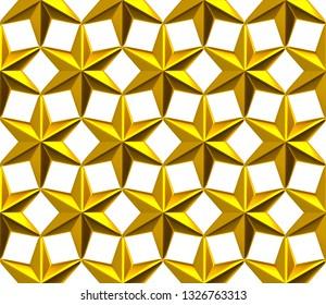 Seamless golden stars pattern. 3d illustration on white background