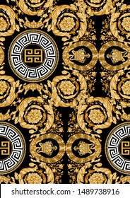Seamless Golden Versace  Baroque Fashionable pattern in ancient vintage style with greek keyed circle. Pattern for textile  design and backgrounds