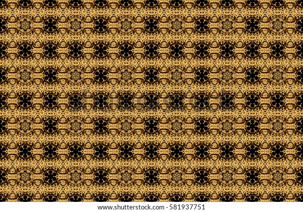 Seamless golden vintage pattern on black background. Raster old moroccan, arabian and turkish ornaments.