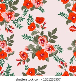 Seamless gorgeous bright pattern in small garden flowers. Millefleur. Floral background for textile, wallpaper, pattern fills, covers, surface, print, gift wrap, scrapbooking, decoupage.
