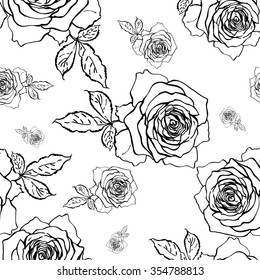 Seamless graphic pattern of delicate roses-1 . Beautiful pattern of pen and ink drawings for design and decoration, wallpaper. Lightweight thin pen drawing.