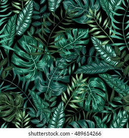 seamless graphical artistic tropical nature jungle pattern, modern stylish foliage background allover print with split leaf, philodendron, palm leaf, fern frond