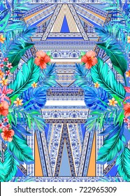 seamless graphical artistic tropical pattern with tropic foliage (monstera, philodendron, fern, palm leaves, banana leaf) and flowers (hibiscus, orchid, frangipani), border pattern. Multicolor design