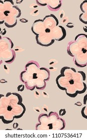 seamless graphical hand drawn loose minimalistic floral pattern, large scale fantasy flowers.