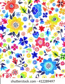 seamless graphical hand stitch embroidery imitation floral pattern, flowers, dots, leaves, unusual gentle colorful ditsy background allover print