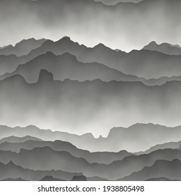 Seamless gray mountains fading into fog. High quality illustration. Gorgeous abstract mountain range print for surface design. Seamless repeat raster pattern swatch. Grey paper texture overlay.