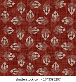Seamless gray red french woven linen texture background. Old ecru flax damask motif natural pattern. Maroon block print hemp cloth textured all over print.