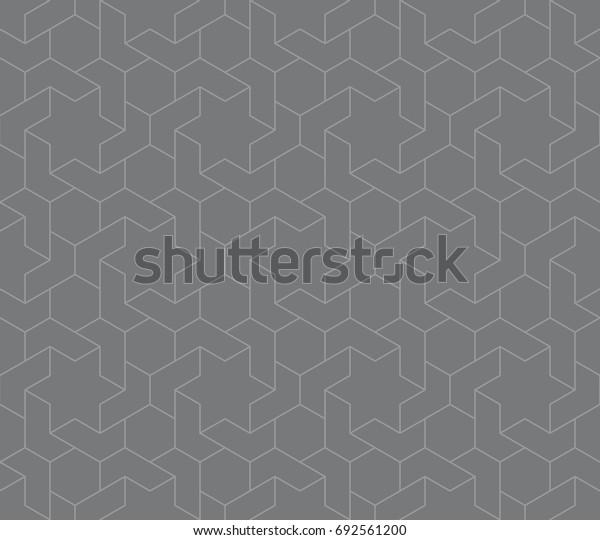 Seamless gray vintage islamic hexagons and stars interlocking outline pattern