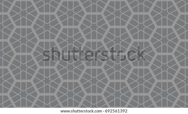 Seamless gray vintage islamic hexagons grid with hexagonal stars tesselation pattern