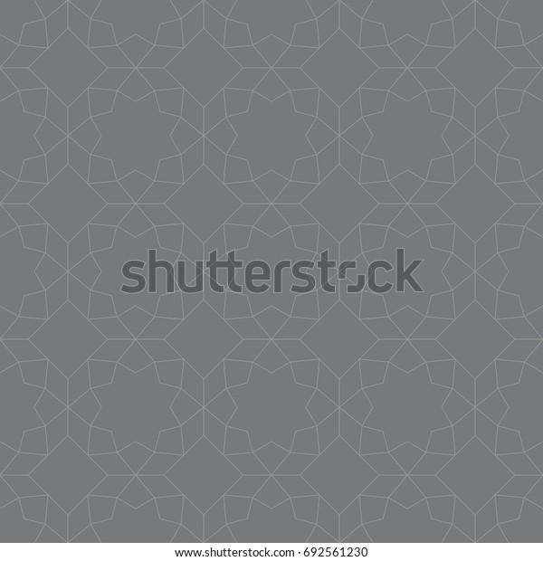 Seamless gray vintage islamic octagonal ornamental outline pattern