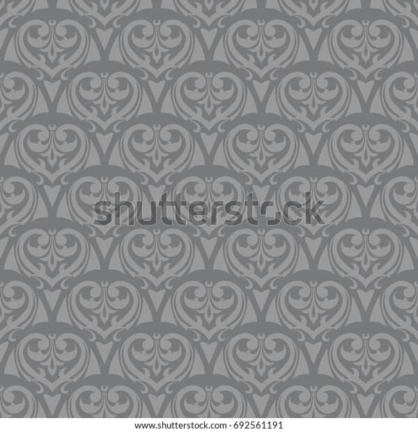 Seamless gray vintage medieval floral scales pattern