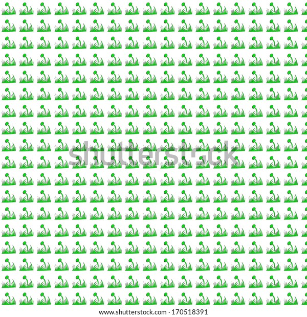 Seamless green, nature ornamental pattern with white background
