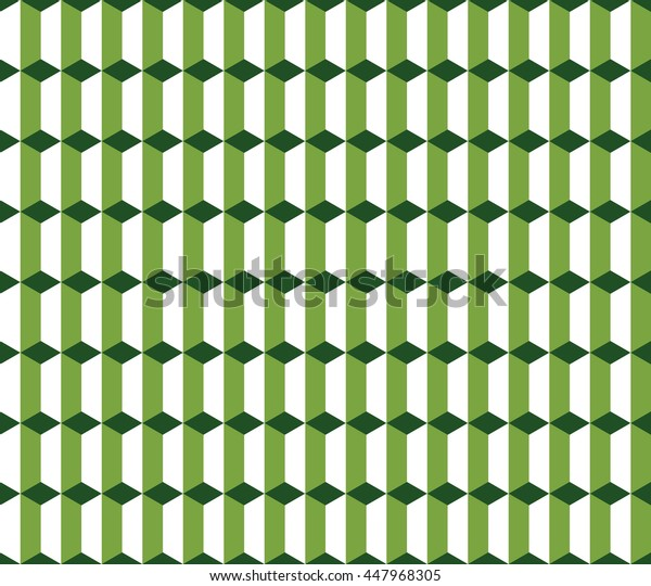 Seamless green and white vintage isometric columns pattern
