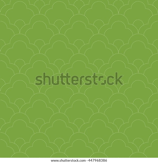 Seamless green and white vintage japanese kimono stitched sashiko floral textile pattern