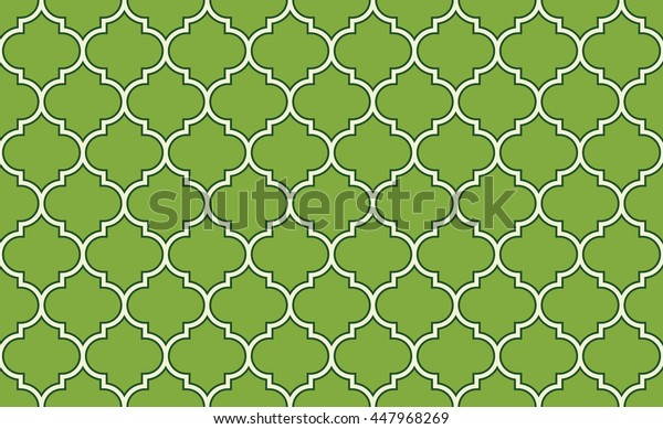 Seamless green and white vintage moroccan fashion islamic pattern